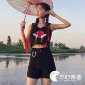 兩件套-韓版時尚休閑套裝夏裝女裝仙鶴刺繡吊帶背心上衣 闊腿短褲兩件套-奇幻樂園