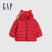 Gap嬰兒 布萊納系列 可愛熊耳刷毛連帽羽絨外套 703923-紅色