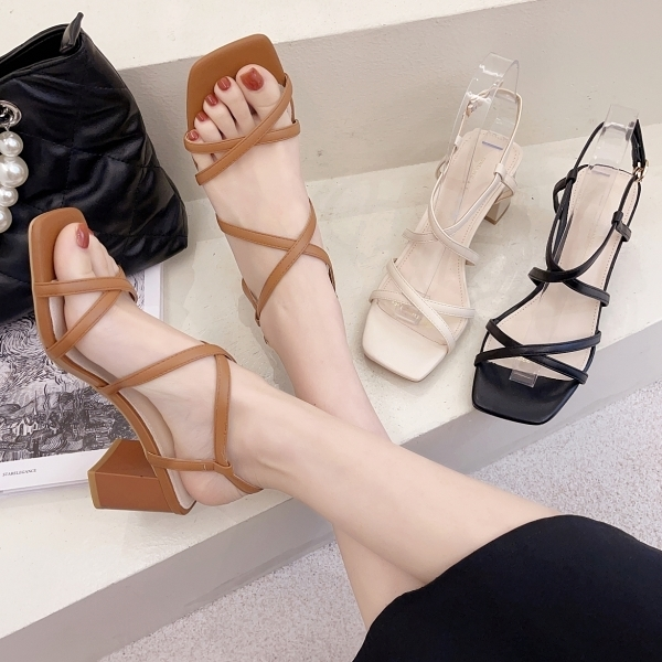 方頭鞋.韓版氣質優雅細緻交叉線條繞踝粗跟涼鞋.白鳥麗子