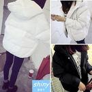 【V0280】shiny藍格子-暖感氣息‧素面超保暖拉鍊連帽外套