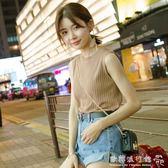 針織吊帶  韓版新款外穿內搭上衣打底吊帶百搭無袖T恤針織背心女 『歐韓流行館』