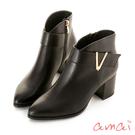 amai 歐美V字金屬裝飾跟靴 黑