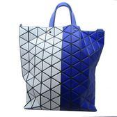 ISSEI MIYAKE 三宅一生 白色藍紫色撞色幾何方格手提斜背包 兩用包 【BRAND OFF】