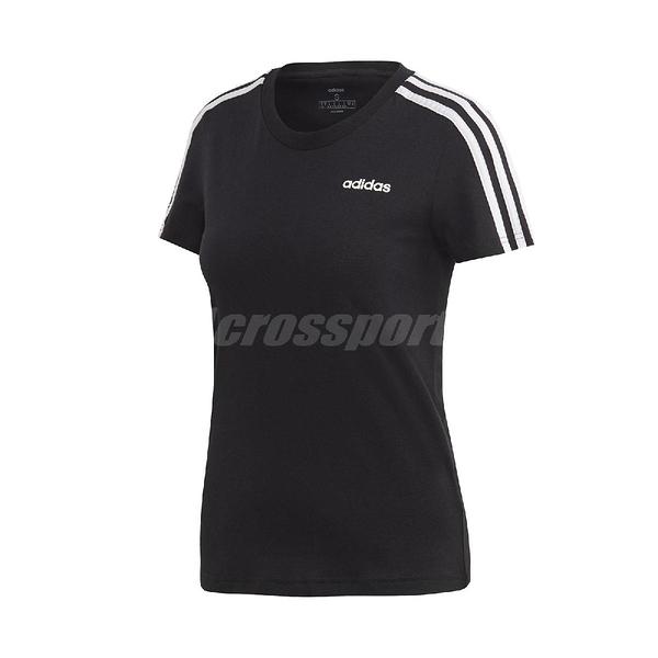adidas 短袖T恤 Essentials 3-Stripes Tee 黑 白 女款 運動 訓練 【ACS】 DP2362