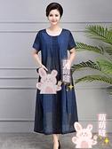 媽媽洋裝 夏季舒適棉麻連身裙女大碼寬鬆薄款媽媽裝休閒長裙子過膝 小天使 99免運【萌萌噠】