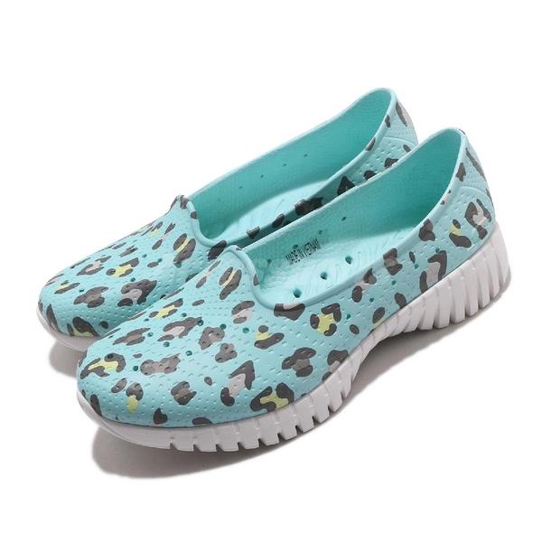 Skechers 休閒鞋 Go Walk Smart-Island Girl 藍 豹紋 女鞋 水鞋 排水設計 套入式 懶人鞋【ACS】 111119BLMT