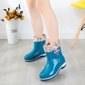 水鞋防滑中筒膠鞋女短筒加絨雨靴時尚防套鞋【雲木雜貨】