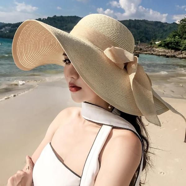 夏天沙灘草帽子女韓版潮海邊大帽檐防曬遮陽太陽度假百搭大沿涼帽 西城故事