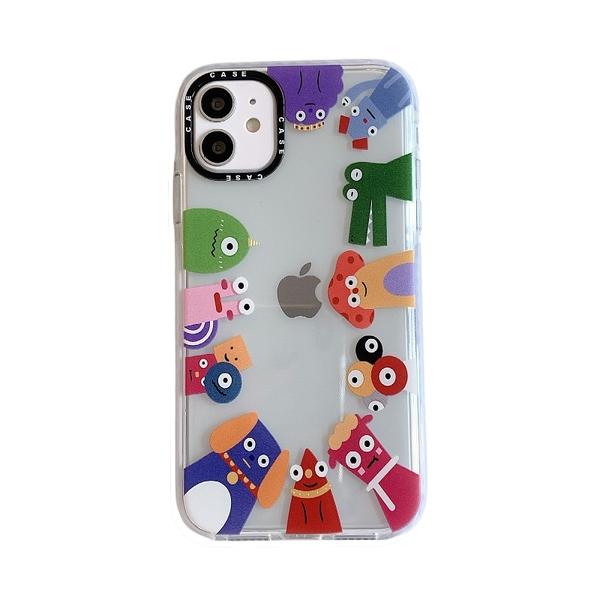 可愛小怪獸 插圖 透明 黑鏡頭圈 防摔殼 iPhone 12 11 Pro Max XR Xs 7/8 SE2 蘋果 手機殼