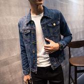 單寧牛仔外套 男 正韓裝外套修身春秋季帥氣夾克學生大碼衣潮褂-小精靈