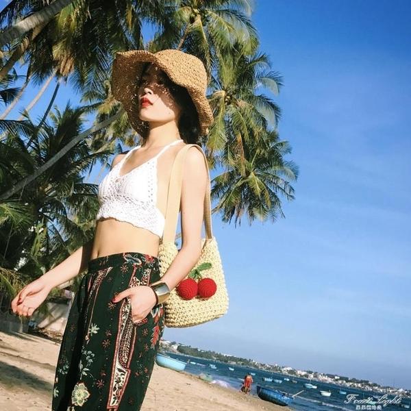 草編包小辣椒編織包草包沙灘包單肩包海邊旅游度假女包包 果果輕時尚