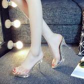 水晶涼拖鞋女外穿新款時尚半拖百搭透明夏季細跟防水台高跟鞋 亞斯藍