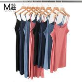Miss38-(現貨)【A05338-1】(短版) 衣櫥基本款 純色純棉 打底 背心裙 吊帶裙 大尺碼洋裝 -大尺碼女裝