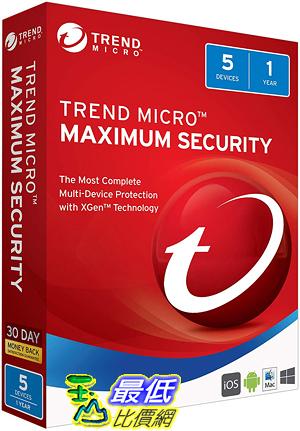 [7美國直購] 2018 amazon 亞馬遜暢銷軟體 Trend Micro Maximum Security 2018 5 User [Key Card]
