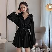 年潮流行新款早秋款女裝長袖設計感小眾襯衫法式黑色洋裝子