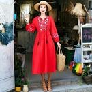 棉麻洋裝 2020秋季新款波西米亞度假風棉麻刺繡流蘇系帶收腰連身裙 零度3C