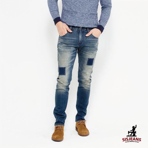 SISJEANS-中色仿舊補丁彈力緊身牛仔褲【16271005】