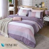 天絲床包兩用被四件式 加大6x6.2尺 時尚韻味(咖)  100%天絲 萊賽爾 附正天絲吊牌 BEST寢飾