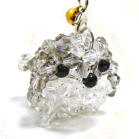 西施犬水晶串珠吊飾