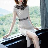 名媛淑女夏裝新款純色連衣裙中長款修身包臀開叉晚禮服 魔法街