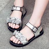 女童涼鞋2018新款韓版水鑚小學生女孩兒童公主鞋中大童沙灘鞋