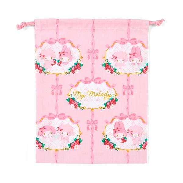 小禮堂 美樂蒂 日製 棉質束口袋 文具袋 小物袋 縮口袋 20x27cm (紅粉 草莓) 4550337-73400