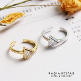 [925純銀]南國之戀三角水鑽開口可調式戒指【SL385】璀璨之星☆
