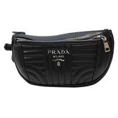 PRADA 普拉達 黑色絎縫小牛皮拉鍊胸肩/腰包 Diagramme Belt Bag 【BRAND OFF】