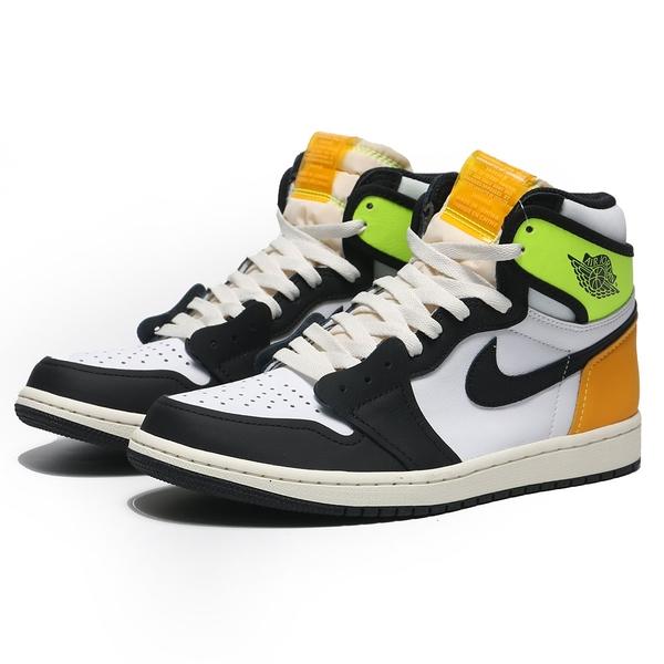 NIKE 籃球鞋 AIR JORDAN 1 HIGH OG VOLT GOLD 反轉鞋標 螢光綠 AJ1 黑腳趾 高筒 男 (布魯克林) 555088-118