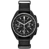 [萬年鐘錶]  BULOVA寶路華  阿波羅 15號 登月紀念 月球計畫限量復刻款  黑錶面  皮錶帶  45mm 98A186