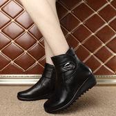 冬季棉靴 真皮加絨 媽媽棉鞋 保暖短靴《小師妹》sm501