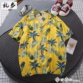 夏季五分袖襯衫男寬鬆沙灘花襯衣夏威夷海邊度假旅游短袖上衣服潮 西城故事