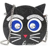 KARL LAGERFELD CHOUPETTE 鑽眼貓造型硬殼鍊帶晚宴包(黑色) 1720478-01