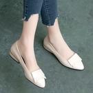 低跟鞋 足意爾康新款單鞋女鞋軟底軟皮百搭工作鞋平底低跟真皮鞋