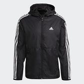 Adidas 3-STRIPES 男裝 外套 連帽 風衣 防撕裂 輕量透氣 口袋 黑【運動世界】GQ0600