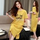 新款睡裙女夏短袖長裙棉質睡衣女夏天學生韓版可愛長款家居服