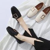 現貨-豆豆鞋2019韓版春季新款復古奶奶鞋淺口百搭平底單鞋女鞋方頭平跟8-15