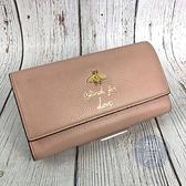 BRAND楓月 GUCCI 古馳 454070 粉色 皮革 金色 蜜蜂 LOGO 長夾 錢包 錢夾 發財夾