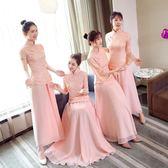 出租伴娘禮服女2019春夏新款韓版顯瘦閨蜜裝中式婚禮姐妹團粉色 DF玫瑰