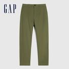 Gap男裝 商務風中腰直筒型休閒褲 911065-綠色