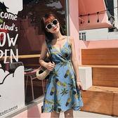 VK精品服飾 韓國風復古風巴厘島泰國度假吊帶波蘿無袖洋裝