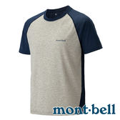 【mont-bell】 Wickron Striped 抗UV 吸濕排汗圓領T恤│T-shirt│Uikkuron│潮T 男『深藍/淺灰』#1114128