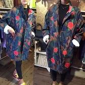 迷彩外套-韓版寬鬆顯瘦花朵印花女風衣71aj13【時尚巴黎】