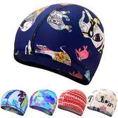 花色純色布泳帽 舒適溫泉不勒頭游泳帽 成人男士女士兒童通用