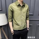 男士短袖襯衫韓版修身中袖5分夏季痞帥潮流帥氣休閒五分袖男襯衣『潮流世家』