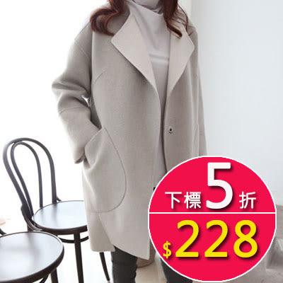 呢大衣外套   韓版中長款繭型顯瘦羊毛呢外套  韓依紡
