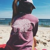 長袖針織衫-大象圖案時尚休閒女T恤4色73hn43【時尚巴黎】