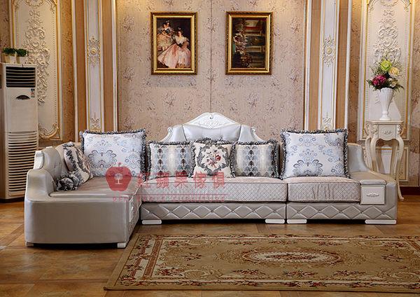 [紅蘋果傢俱] S118 歐式系列 古典 歐式 法式 L型沙發組 皮藝 布沙發 椅子 貴妃椅 工廠直營