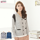 外套--配色羅紋接袖設計棉質長袖外套(灰...