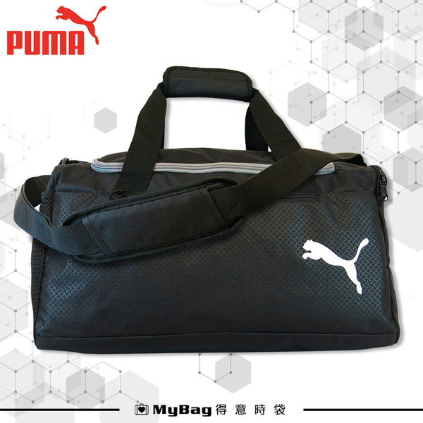 PUMA 旅行袋 黑色 經典素面LOGO 行李袋 運動包 側背包 075527 得意時袋
